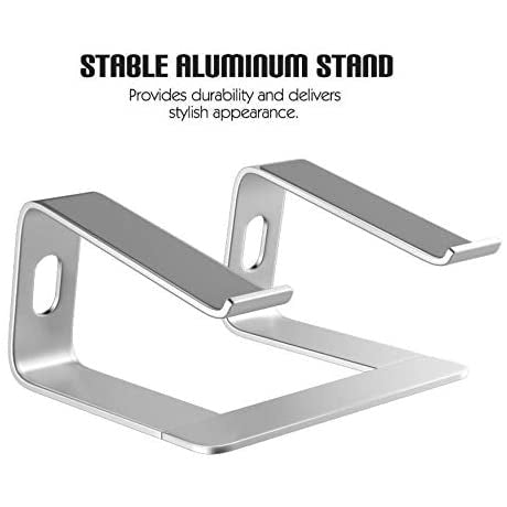 "Laptop Stand Holder Computer Riser - Aluminum Cooling Notebook Stand Mount Laptops Elevator for Desk for 10-15.6"" Laptops - Silver"