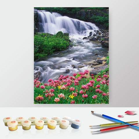 DIY Paint by Numbers Canvas Painting Kit for Kids & Adults - Calm Waterfall Landscape