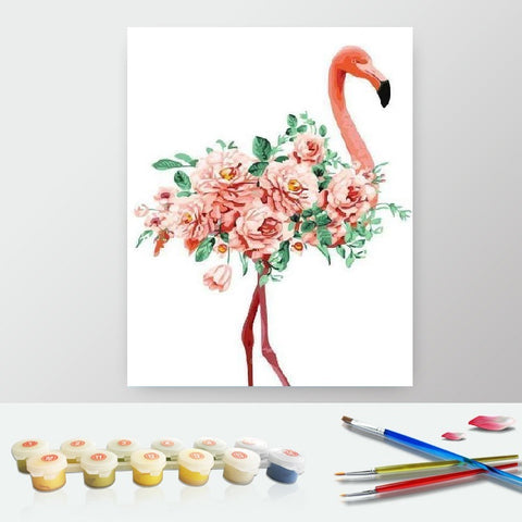 Paint by Numbers Kit for Adults by Alto Crafto - Pink Flamingo and Roses