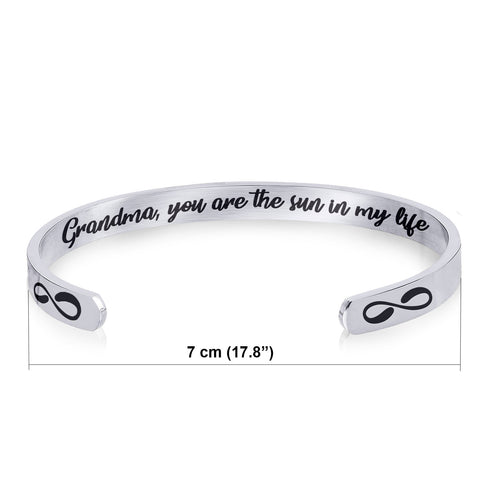 Stainless Steel Bracelet - Cuff Bracelet - Grandma You are The Sun in My Life
