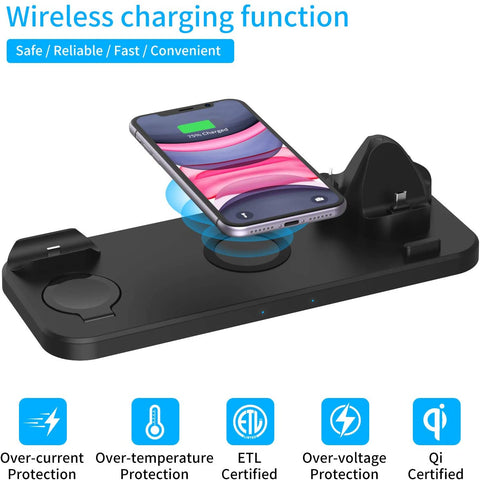 Wireless Charger 6 in 1 Compatible with Apple Watch & AirPods 2 & Pencil Charging Dock Station, iPhone - Adapter