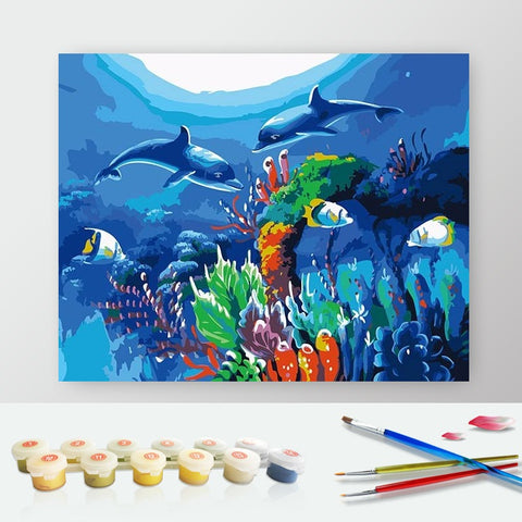 Paint by Numbers Kit for Adults by Alto Crafto - Sea World