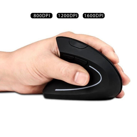 2.4G Wireless Vertical Optical Mouse with USB Receiver Ergonomic Comfortable Mice Design 800/1200 /1600 DPI, 6 Buttons - Black - Left Hand