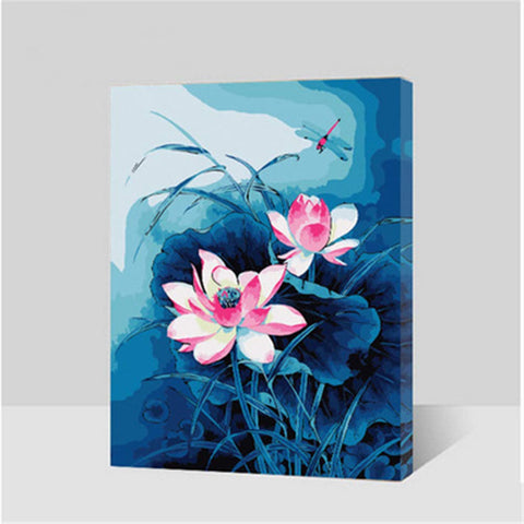 DIY Paint by Numbers Kit for Adults - Lotus Flowers