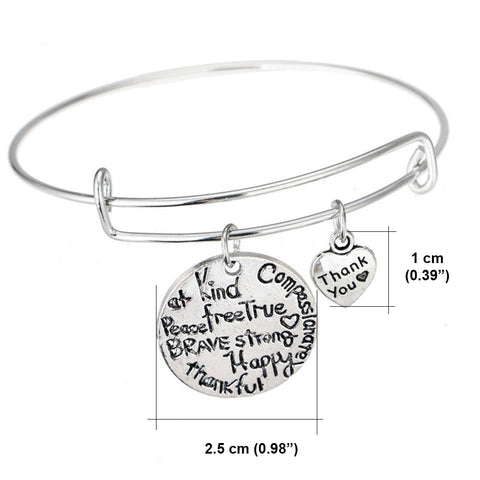 Kind Free Happy Thankful Strong - Pendant Bracelet - Motivational Jewelry Gift