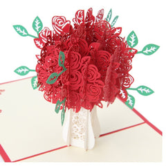 3D Floral Pop Up Card and Envelope - RED Bouquet Popular