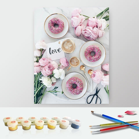 DIY Paint by Numbers Canvas Painting Kit for Kids & Adults - Pink Breakfast Donuts Roses