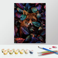 DIY Paint by Numbers Canvas Painting Kit for Kids & Adults - Fox in Leaves