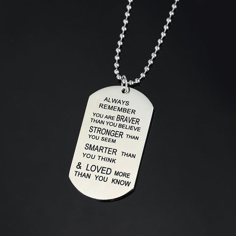 Inspirational Pendant Necklace Remember You are Braver Than You Believe