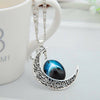 Image of Galaxy & Crescent Cosmic Blue Moon Pendant Necklace, Blue Glass, 17.5'' Chain, Great Gift for Women