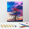 Image of DIY Paint by Numbers Canvas Painting Kit for Kids & Adults- Lonely Tree Under Pink Sky