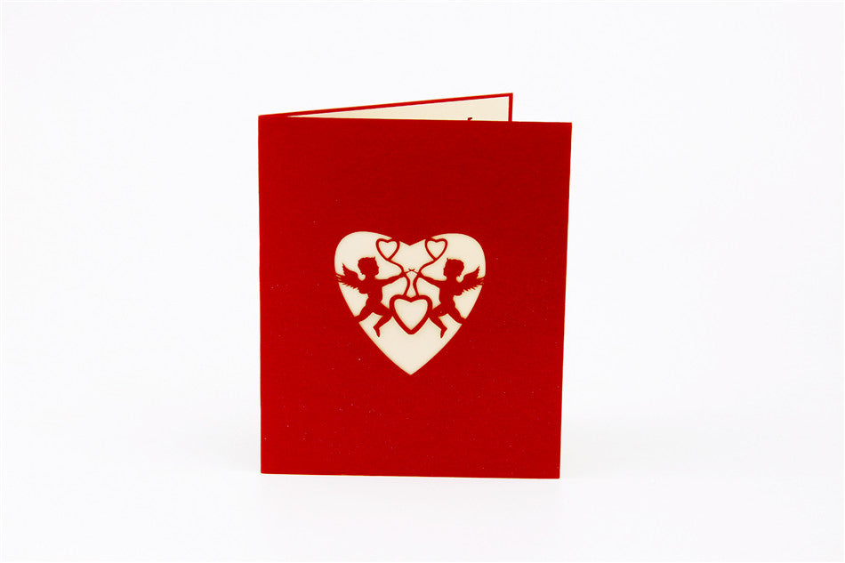 3d love pop up card and envelope valentine s day red hearts