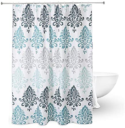 "Shower Curtain with Metal Hooks, 72"" x 72"" Thick Heavy Duty Fabric Bathroom Shower with Hooks No Chemical Odor Rust-Resistant - Paisley"