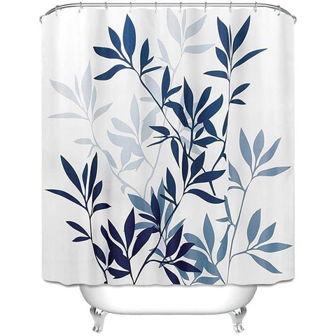 "Shower Curtain with Metal Hooks, 72"" x 72"" Thick Heavy Duty Fabric Bathroom Shower with Hooks No Chemical Odor Rust-Resistant - Blue Leaves"