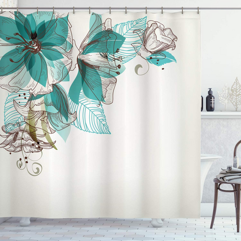 "Shower Curtain with Metal Hooks, 72"" x 72"" Thick Heavy Duty Fabric Bathroom Shower with Hooks No Chemical Odor Rust-Resistant - Mint Flower"