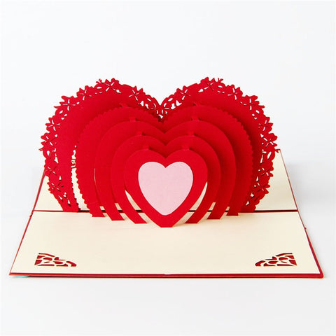 3D Love Pop Up Cards and Envelopes - Valentine's Day Red Hearts Card