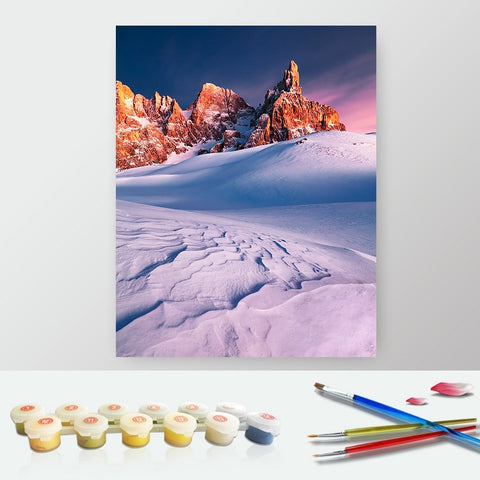 DIY Paint by Numbers Canvas Painting Kit for Kids & Adults - Snow Landscape