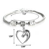 Image of Heart Pendant Bracelet Horse Heart Jewelry - Family and Friends Jewelry Gift - 10''