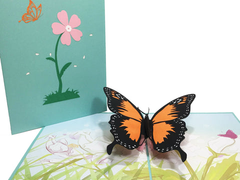 3D Butterfly Pop Up Card and Envelope - Orange Butterfly