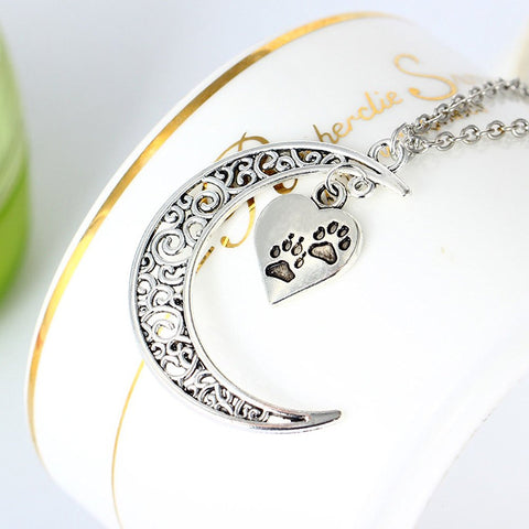 Crescent Moon and Paws Pendant Necklace, 19.5'' Chain, Great Gift for Animal Lovers