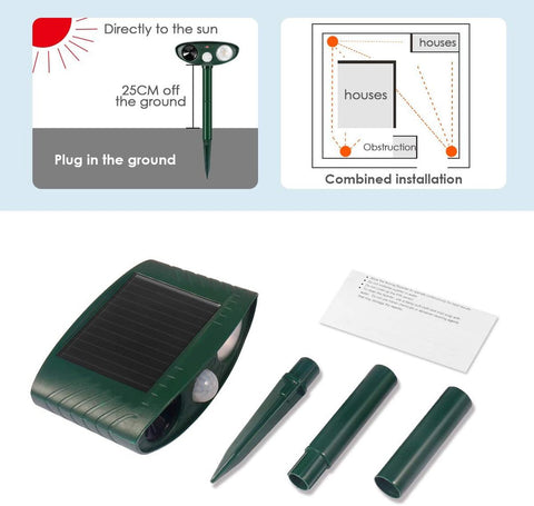 Ultrasonic Chipmunk Repeller - PACK of 6 - Solar Powered - Get Rid of Chipmunks in 48 Hours or It's FREE - CA