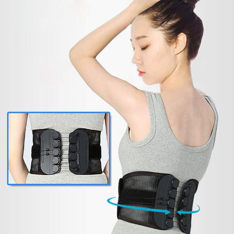 Lumbar Support Back Brace with Dual Adjustable Straps Breathable Mesh Panels for Immediate Relief for Back Pain
