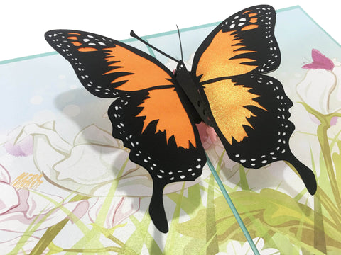 3D Butterfly Pop Up Card and Envelope - Romantic Unique Pop Up Greeting Cards for Birthday, Christmas, New Year, Anniversary, Valentine, Wedding, Graduation, Thank You. Orange Butterfly