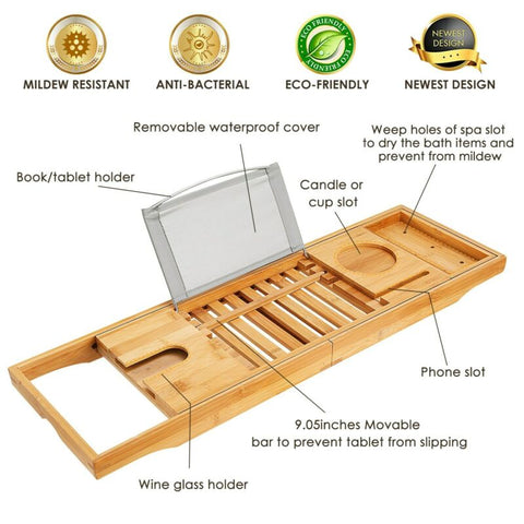 Bamboo Luxury Caddy Bathtub Tray