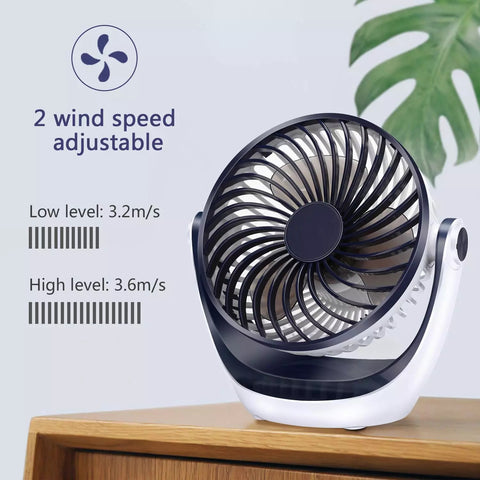 Desk Fan Small Tabletop Fan with Strong Airflow - Portable Mini USB Fan - 2 Cooling Speed - Adjustable Head 360° Rotatable - 5.1 Inch