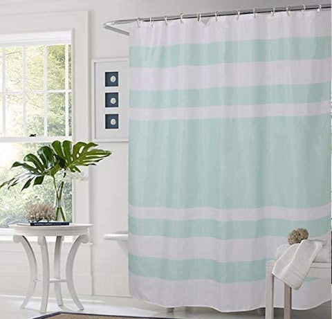 "Shower Curtain with Metal Hooks, 72"" x 72"" Thick Heavy Duty Fabric Bathroom Shower with Hooks No Chemical Odor Rust-Resistant - Mint Lines"