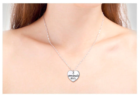 Grandmas Girl Heart Pendant Necklace - Grandma Necklace Set