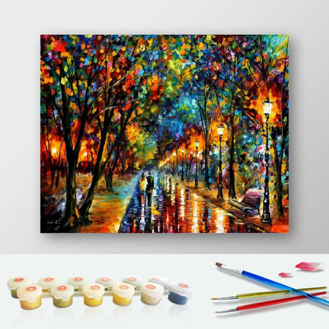 Paint by Numbers Kit for Adults by Alto Crafto - Lights in Raining night
