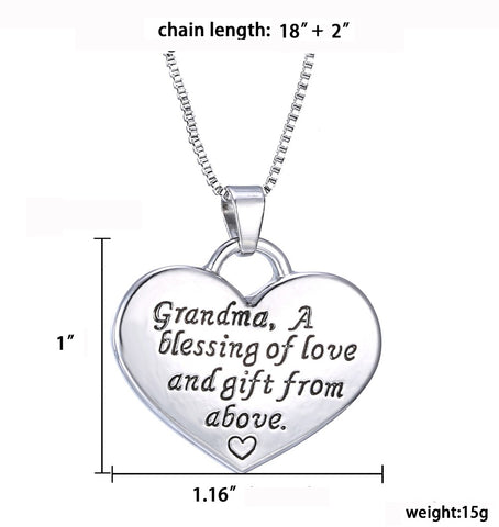 Grandma Heart Pendant Necklace - Grandma a Blessing of Love and Gift from Above - Family Necklace