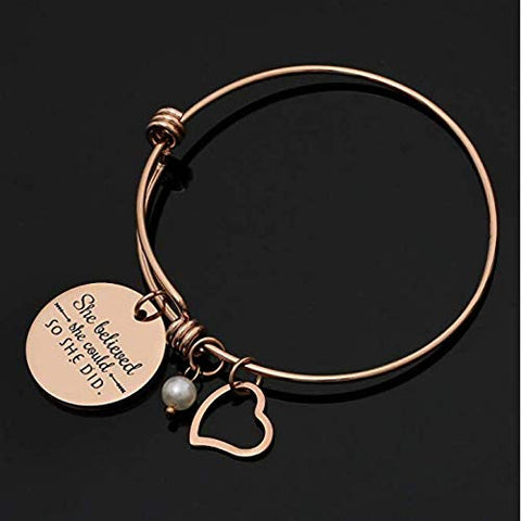 Bangle Bracelet Engraved - She Believed she Could so she did Inspirational - Jewelry