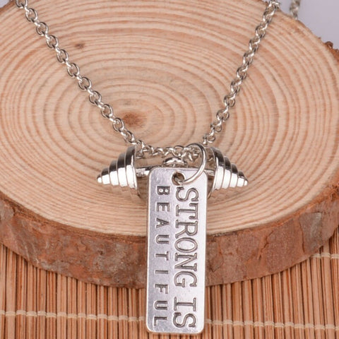 Strong is Beautiful - Pendant Necklace - Motivational Jewelry Gift