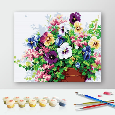 Paint by Numbers Kit for Adults by Alto Crafto - Pansy Flowers
