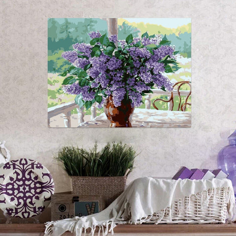 Paint by Numbers Kit for Adults by Alto Crafto - Lilac flower