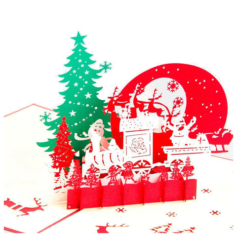 3D Christmas Pop Up Card and Envelope - Winter nature