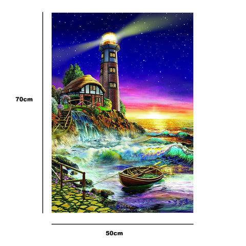 Lighthouse Boat Puzzle - Large Paper Jigsaw Puzzle [1000 Pieces]