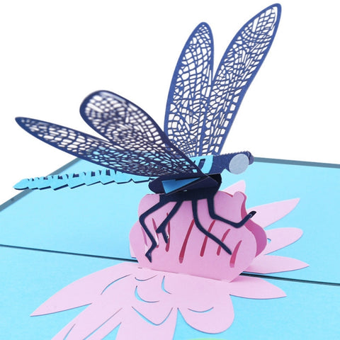 3D Dragonfly Pop Up Card and Envelope - Dragonfly
