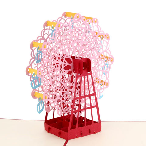 3D Ferris wheel Pop Up Card and Envelope - Pink Ferris wheel