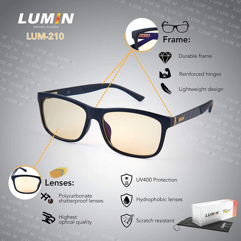 Driving Glasses Shift - Improve Road Safety with Outdoor Night Vision Lenses - U.V.A. and U.V.B, Protection - Unisex