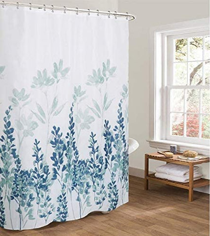 "Shower Curtain with Metal Hooks, 72"" x 72"" Thick Heavy Duty Fabric Bathroom Shower with Hooks No Chemical Odor Rust-Resistant - Blue Flowers"