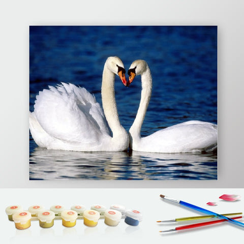 Paint by Numbers Kit for Adults by Alto Crafto - White Swans