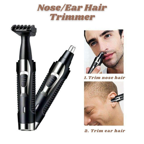 Ear and Nose Hair Trimmer Set - 2 in 1 Painless Facial Hair and Eyebrow Clipper for Men and Women Rechargeable - Waterproof - Black