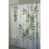 "Image of Shower Curtain with Metal Hooks, 72"" x 72"" Thick Heavy Duty Fabric Bathroom Shower with Hooks No Chemical Odor Rust-Resistant - Green Leaves"