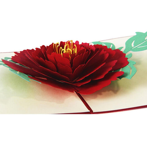 3D Floral Pop Up Card and Envelope - BIG Red Flower