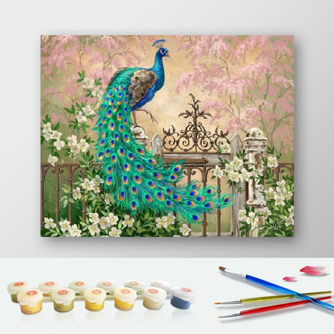 Paint by Numbers Kit for Adults by Alto Crafto - Peacock Green Blue