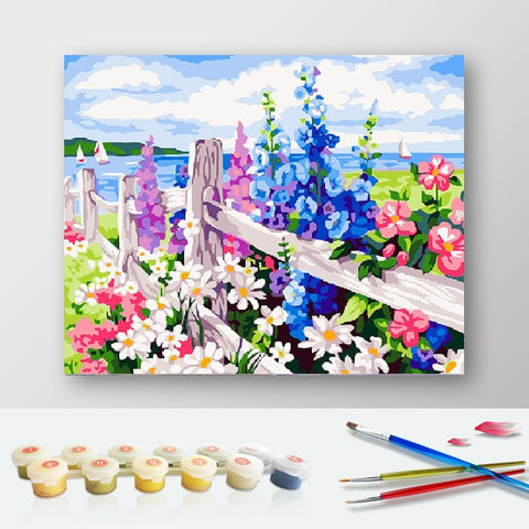 Paint by Numbers Kit for Adults by Alto Crafto - Flowers and Fence