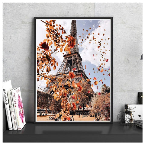 DIY Paint by Numbers Canvas Painting Kit for Kids & Adults - Autumn in Paris Eiffel Tower